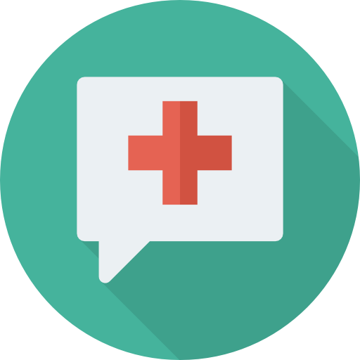 Red cross chat Icon made by DinosoftLabs from www.flaticon.com